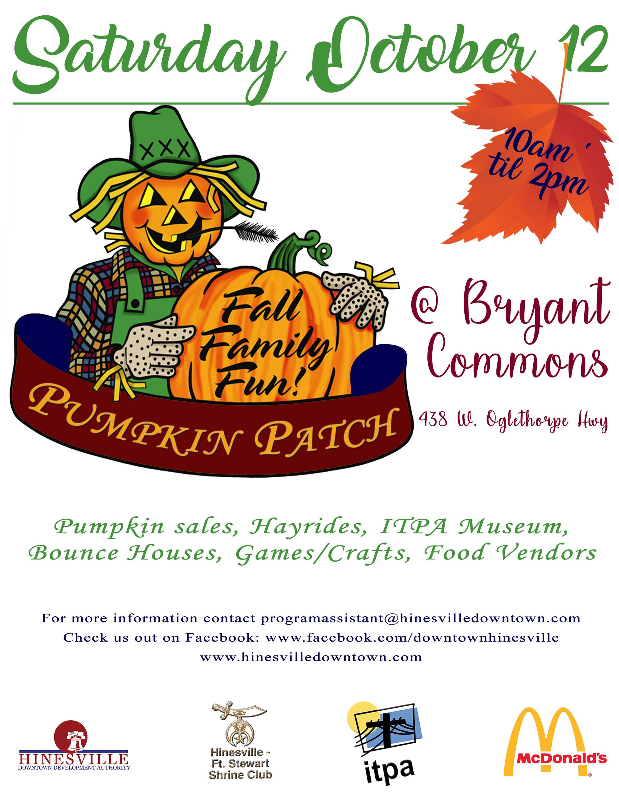 Hinesville&#39s 2019 Pumpkin Patch event is set for Saturday, October 12, 2019 from 10 a.m. to 2 p.m